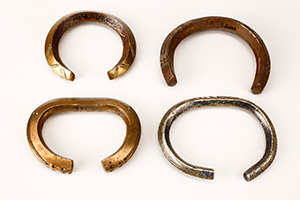 Bracelets from copper and bronze strap, open and decorated by incision. Copper bracelets are worn by tribal chief amongst the Bako tribes.